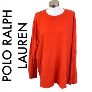 POLO RALPH LAUREN ORANGE RED MEN'S SHIRT SIZE XL